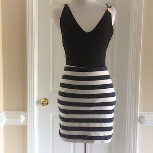 H&M Navy Blue & White Striped Mini Skirt